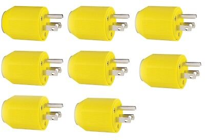 Lot of 8 Heavy Duty Cooper Plastic 3 prong Replacement Plug Ends 15 amp Autogrip