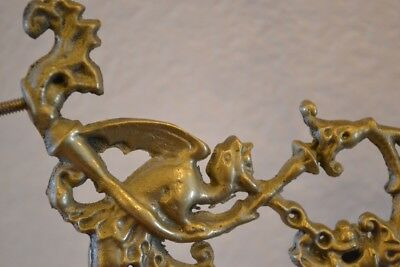 Metal Finial, Hanger, Handle with Mythological Winged Gothic Dragon & Scrolls