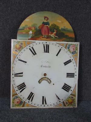 ANTIQUE ENGLISH HAND PAINTED CLOCK FACE for TALL CASE GRANDFATHER CLOCK,CARLISLE