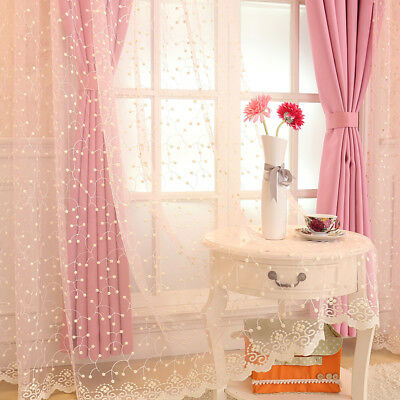 Soft Lace Voile Curtain Panel Embroidery Floral Tulle Window Drape Sheer Vintage