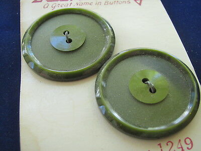 """2 Vintage Coat Green Plastic Buttons by Lansing Size 54 1 1/8"""""""