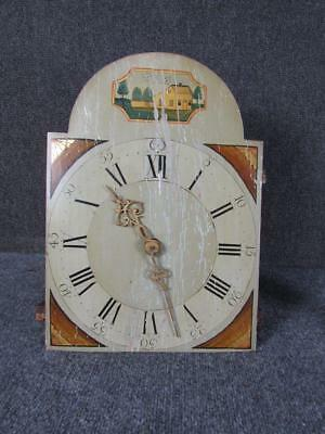 ANTIQUE NEW HAMPSHIRE NEW ENGLAND 1800s GRANDFATHER CLOCK FACE & MOVEMENT