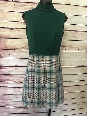 Vtg School Girl Dress Sz M Green Plaid Sleeveless Collar Zip Back Pleated Skirt