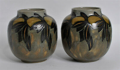 ROYAL DOULTON LAMBETH PAIR ARTS & CRAFTS ORANGES & LEAVES VASES  by JANE HURST