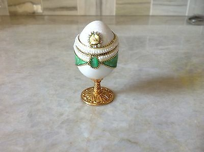 Real Quail Egg Hand Carved and Decorated Hinged on Pedestal NIB