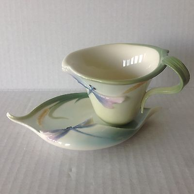 Frank Porcelain Cup & Saucer China Set FZ00028 Dragonfly Enesco