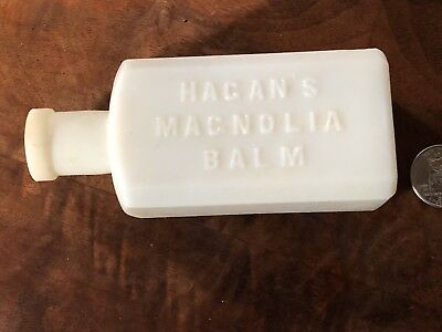 ANTIQUE 1860's HAGAN'S MAGNOLIA BALM White MILK GLASS Cosmetic Vanity Beauty 5""