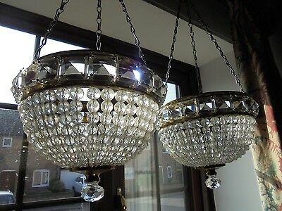A Pair Of Vintage French Pineapple Glass Chandeliers - Very Pretty