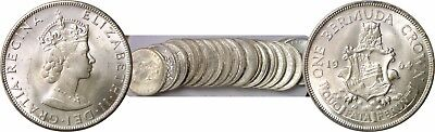 1964 Bermuda Silver Crowns 20 Coin Rolls KM# 14 Uncirculated