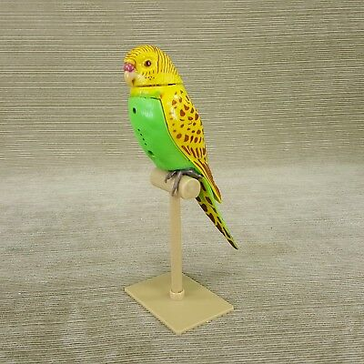 "Parakeet Bird 6.5"" on Perch Motion Activated Head Moves w Sound Sings Chirps 2pc"