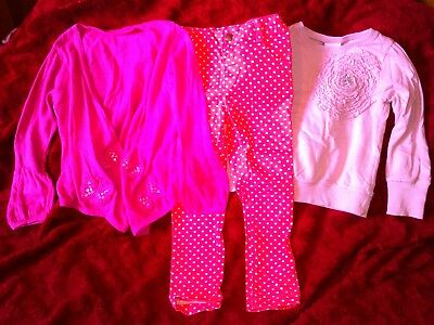 PRETTY PINK SPOTTY JEANS,PINK JUMPER,PINK CARDIGAN,aged 3-4.