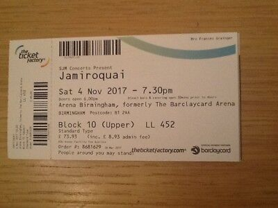 concert tickets Jamiroquai X 2 (seated)