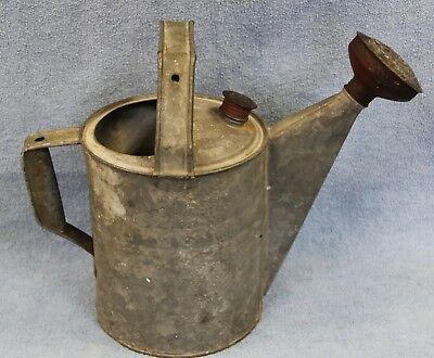 Antique 1940's Garden Watering Can #6 Galvanized Metal w/ 2 Nozzles Rare
