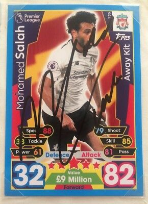 Signed Mohamed Salah Liverpool Match Attax Card 2017/2018 Exact Photo Proof Rare