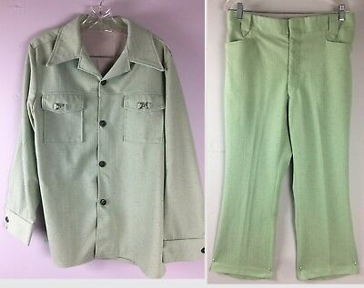Vtg 70s Mens Leisure Suit Polyester Pants 33x28 Jacket 42 Double Knit Mint Green