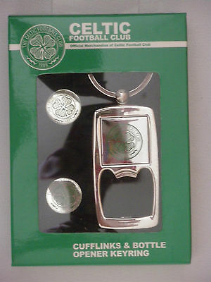 ***  Celtic Football Club ***  Cufflinks And Bottle Opener Keyring  *** New ***