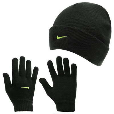 Nike Kids Boys Black Embroidered Logo Beanie Hat And Gloves Juniors Set