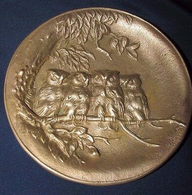 Cast Bronze Owls on Branch Trinket PIN DISH Bowl Antique Art Nouveau 12.5CmW