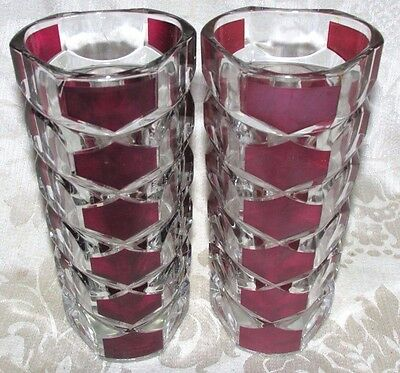 Vintage French 2x. VASES  Ruby Burgundy Red Clear Reims France 17CmT