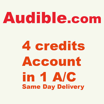 Audible.com 4 credits account in 1 account read details below fast delivery