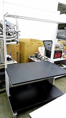 "48"" X 31"" Black Composite Top Laboratory Bench/table W/1 Lower & 1 Upper Shelf"