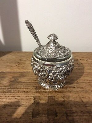 Vintage Silver plate mustard Pot With Spoon