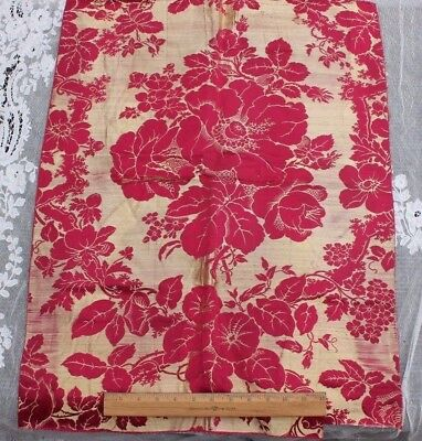 Luscuious Red French Antique Silk Rose Bouquet Brocatelle Home Fabric c1840-1860