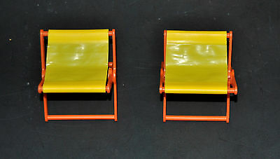 2 Vintage Camping Chairs for Barbie 1970s Yellow & Orange folding chairs
