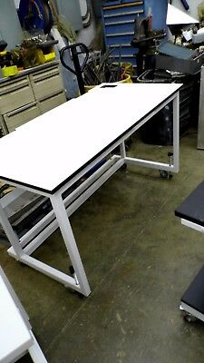 "60"" X 30"" X 35"" Tall Laminate Top Laboratory Bench/table On Wheels"
