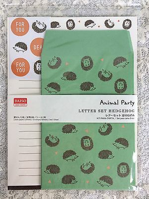 cute kawaii pen pal letter set writing paper stationery Hedgehog Green