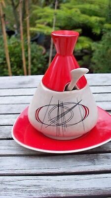 Vintage Carlton Ware Lidded Preserve Pot,Saucer & Spoon Art Deco - Rarely Seen.