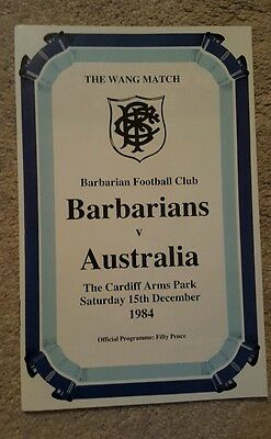 Barbarians v Australia 1984 rugby union programme