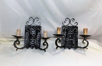 Pair Wrought Iron Electric Candle Wall Sconces, Mission, Spanish Revival