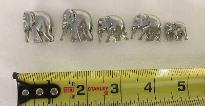 Mini Metal Standing Elephants from Thailand Circa 1992  Set of 5 2 Big/2Med/Baby