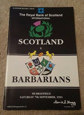 Scotland v Barbarians 1991 rugby programme
