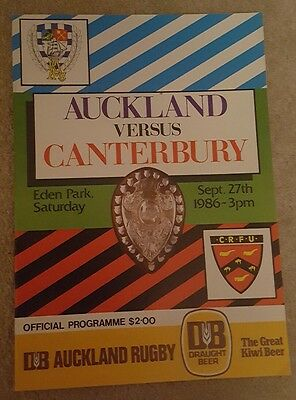 Auckland v Canterbury 1986 rugby union programme