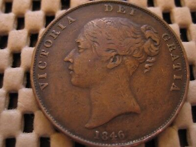 1846 Victoria Penny from Great Britain, P1490, AVF, Scarce!