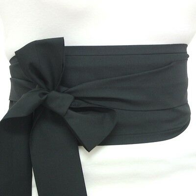 Fabric black cotton OBI belt Japanese geisha kimono style waist sash tie ribbon