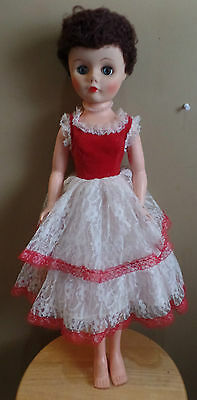 """Vintage HIGH Heel FEET Tall Brunette DOLL with RED and White LACE Dress- 23 1/2"""""""