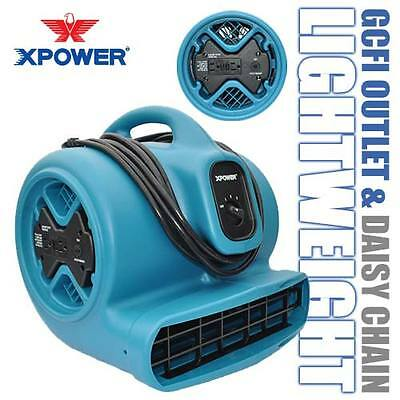 XPOWER X-600A 1/3 HP 2400 CFM Industrial Air Mover Dryer Fan w/ GCFI Outlets