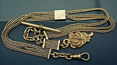 stunning Antique gold filled jewelry pocket watch chain/fob/slide
