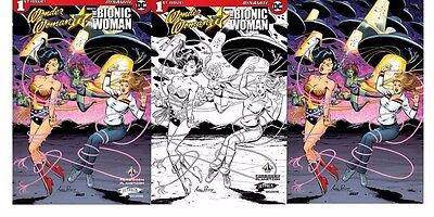 3x WONDER WOMAN MEETS THE BIONIC WOMAN 1 JETPACK EXCL; B&W VIRGIN Pepoy DC HOT