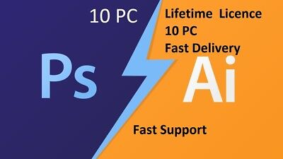 Adobe Photoshop CS6 Extended and Illustrator CS6 Fully Activated Lifetime 10 PC