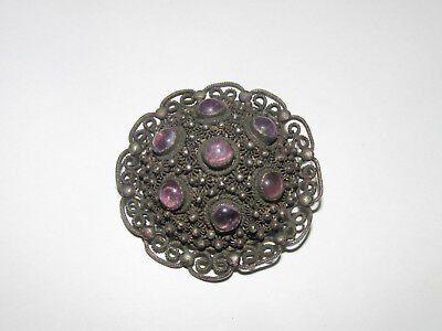 Antique Chinese Sterling Silver Filigree Brooch With Amethyst