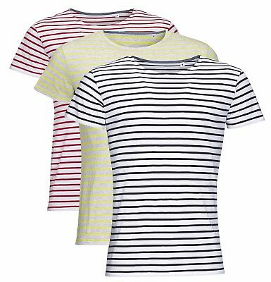 Mens Mans BLUE or RED and WHITE Stripey Striped GREY YELLOW Stripe T-Shirt