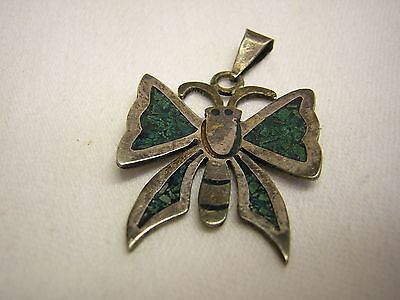 "Mexico Butterfly Sterling Silver  & inlaid Turquoise  Pendant  1"" long x 1"" wide"