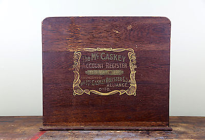 Antique 1900's McCaskey Account Register Wood Sign Cabinet AS IS Alliance, Ohio