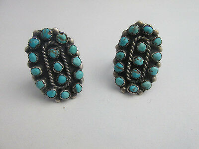 Navajo Turquoise Cluster Squash Blossom Ring, 2 Ring Set, size 7 size 7.5