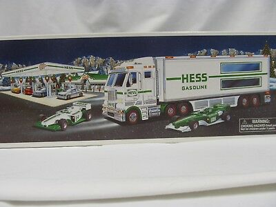 2003 HESS GASOLINE Toy Battery Operated Lights Up SEMI TRUCK/RACE CARS - NEW !!