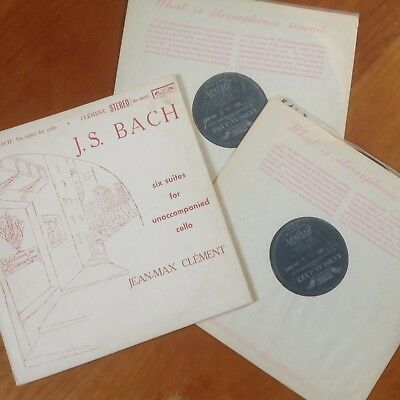 ULTRA RARE Clement Bach Cello Suites SOL 60016-7 First UK Decca ED1 2xLPs NM/EX-